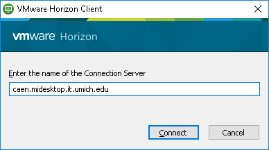 What server should I use in the VMware Horizon Client to