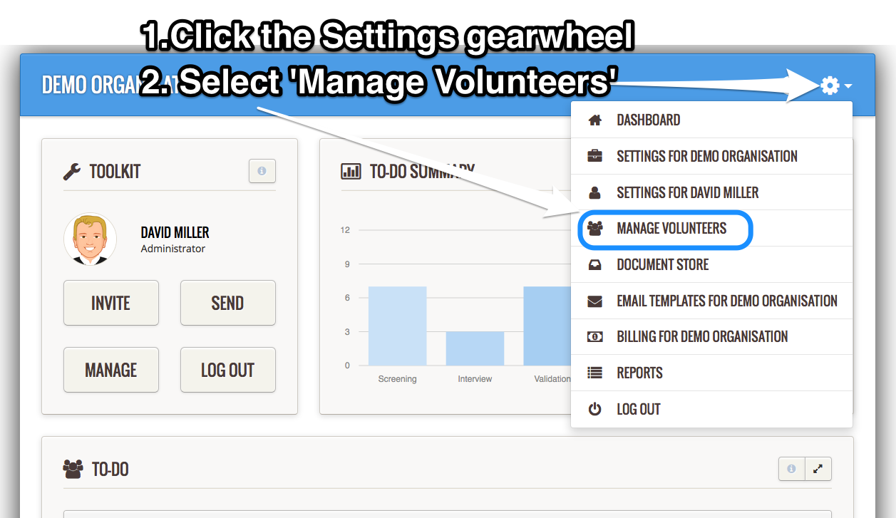 Manage volunteers
