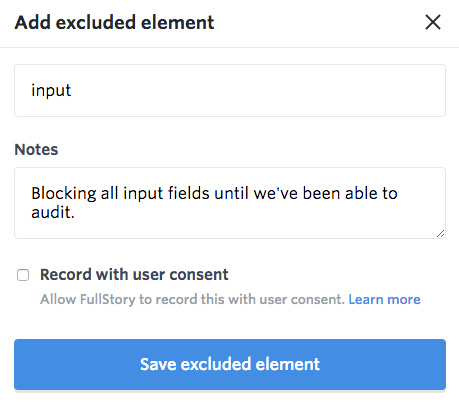How do I exclude elements to protect my users' privacy in FullStory