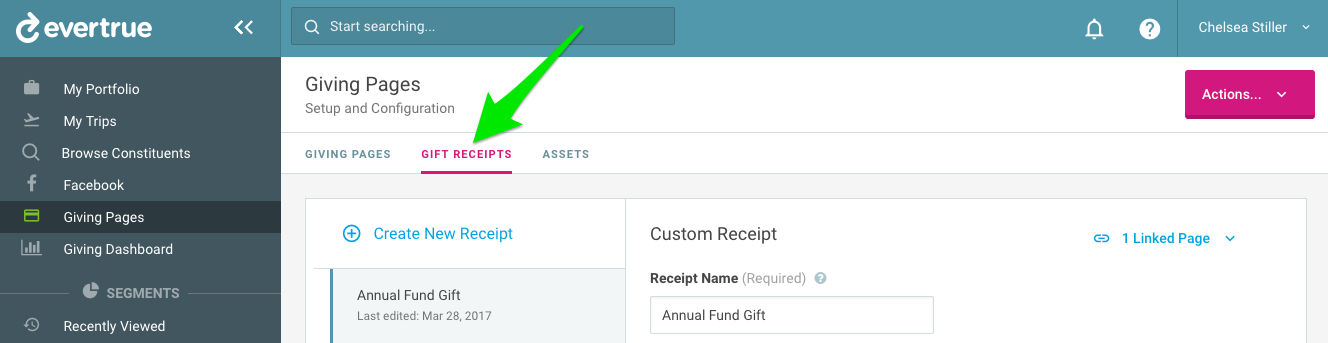 custom gift receipts evertrue help