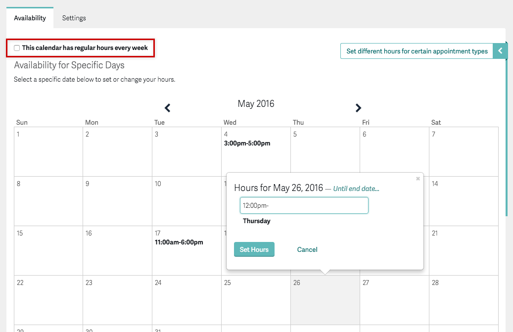 setting up availability and scheduling limits by appointment type