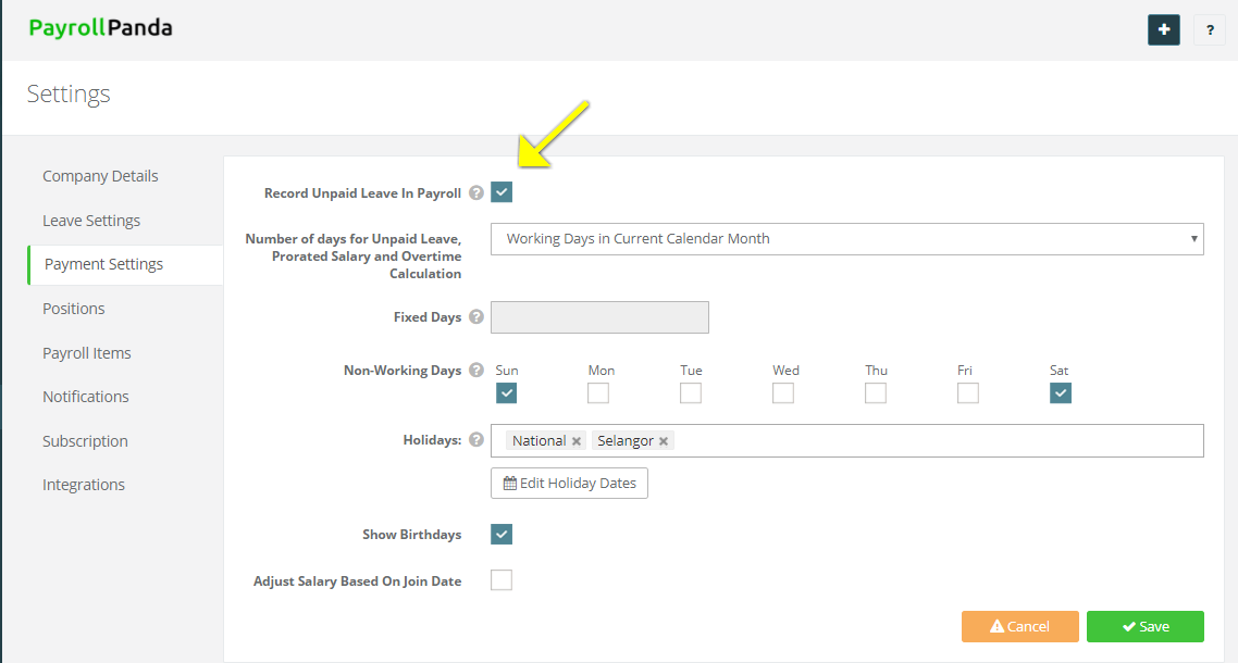 payrollpanda how to automatically calculate unpaid leave prorated