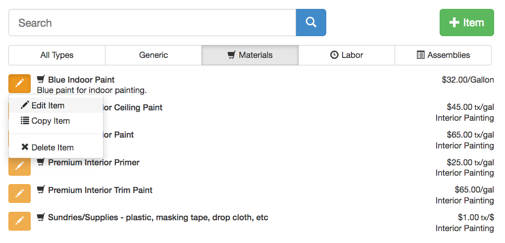 To Adjust The Paint Prices, Select The Material Tab Below The Search Bar  And Edit The Material You Want To Change The Rate Or Name Of.