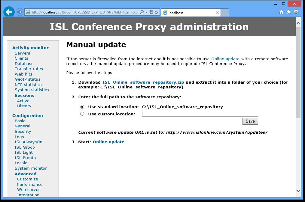 ISL Online — Manual update