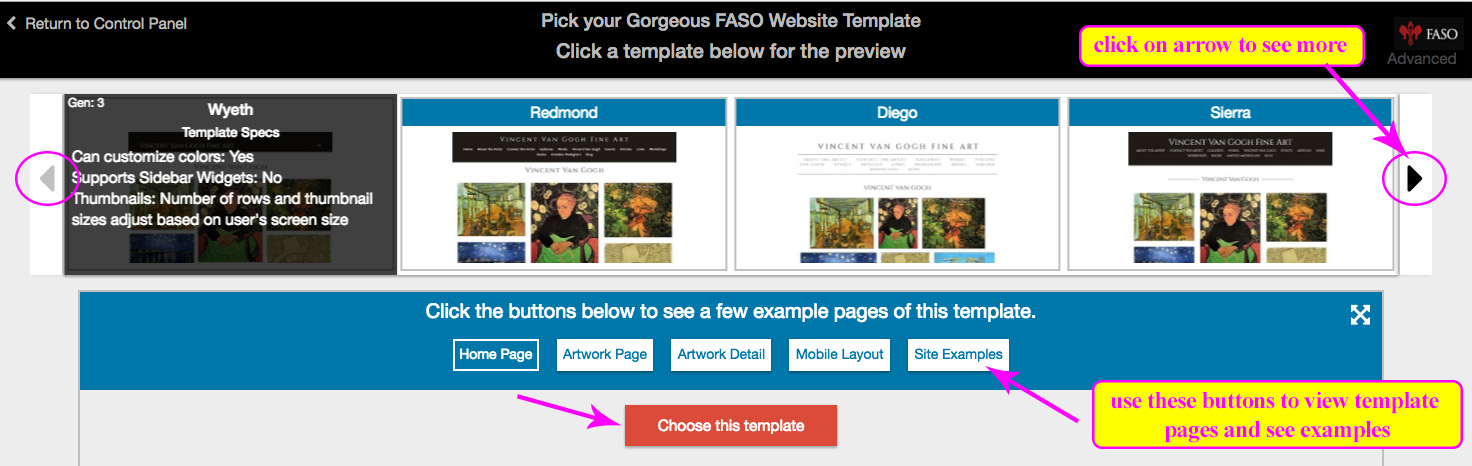 how to change site template