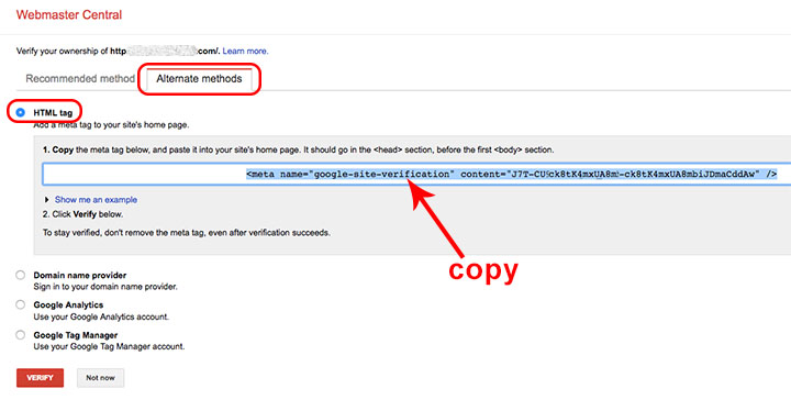 how to add google site verification to website
