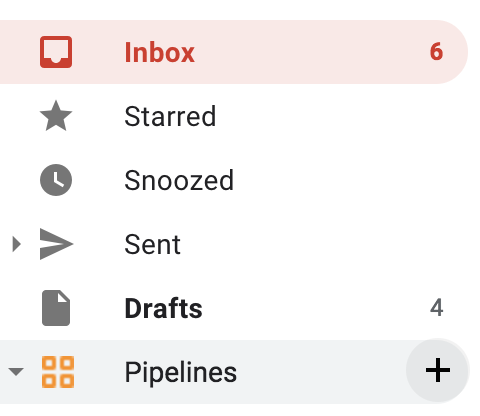 Gmail's sidebar, with Pipelines highlighted