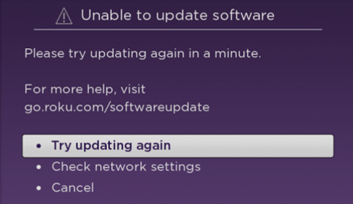 TCLUSA — Unable to update the software on your TCL Roku TV