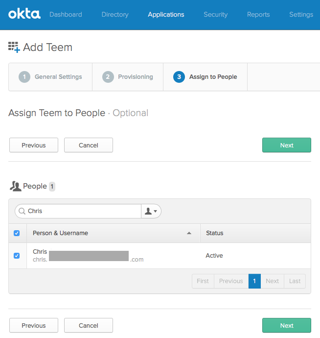 Teem Okta Assign to People Settings