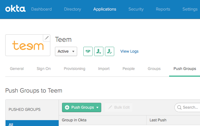 Push Okta Groups to Teem
