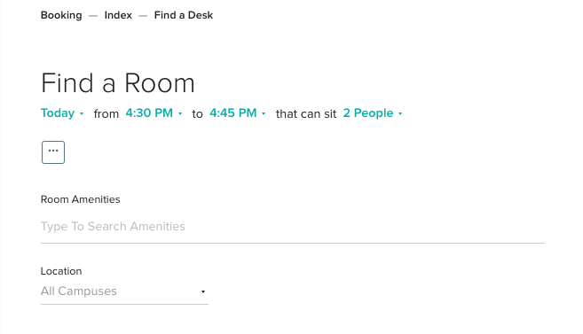 Find a Room Search Functionality Conference Rooms