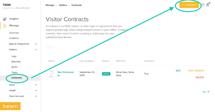 Visitor Contracts Dashboard LobbyConnect