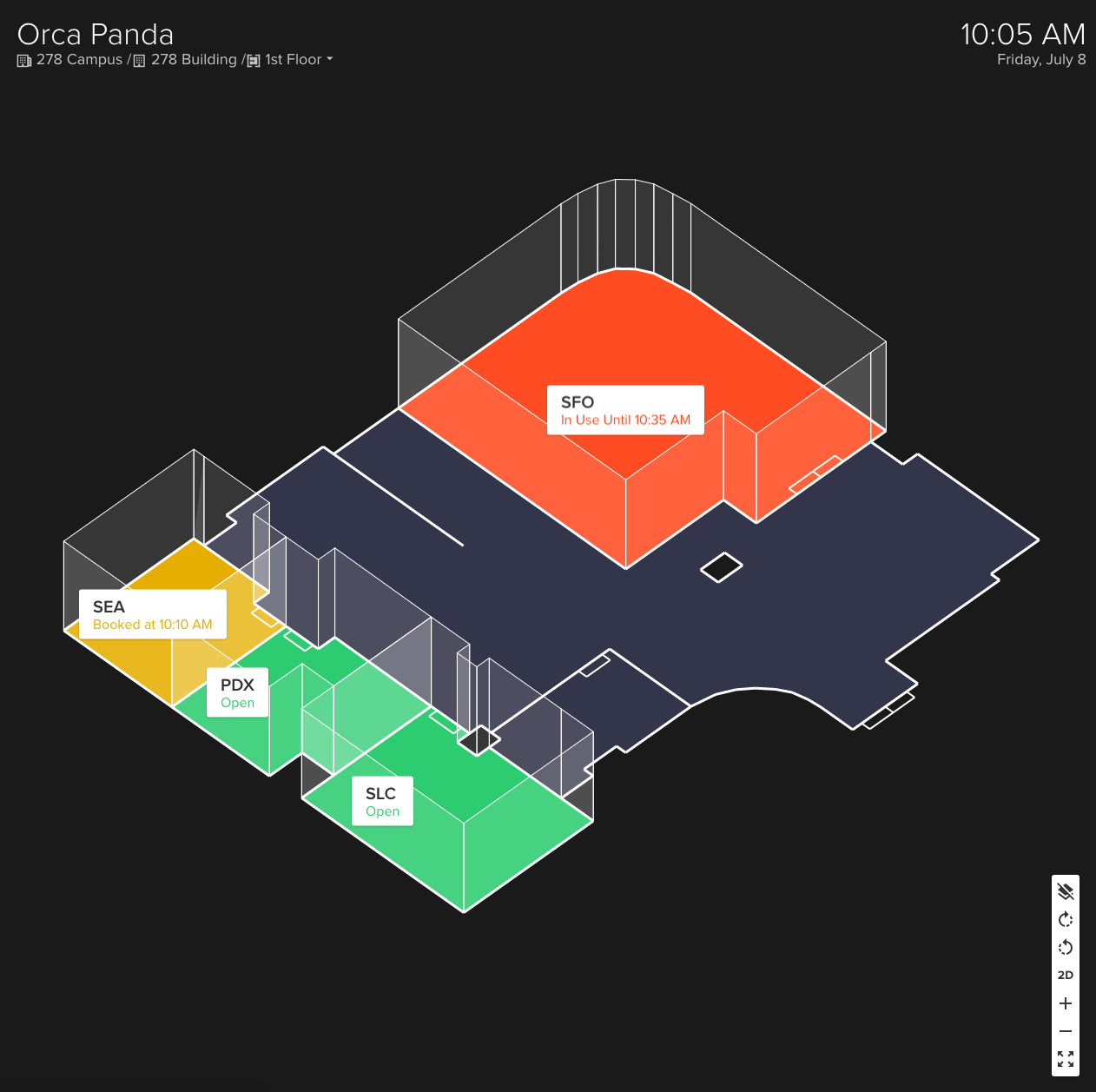 Color-coded Meeting Room Map by Teem