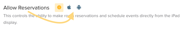 Allow Reservations Eventboard settings.