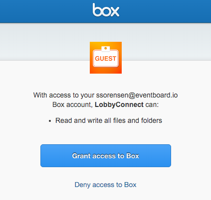 Box Grant Integration Access Screen