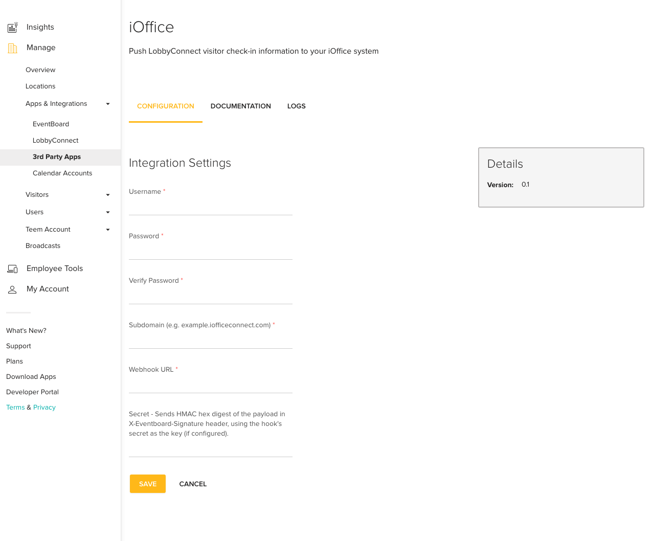 iOffice Teem Integration Screen