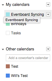 My Calendars Selection Google Apps for Work
