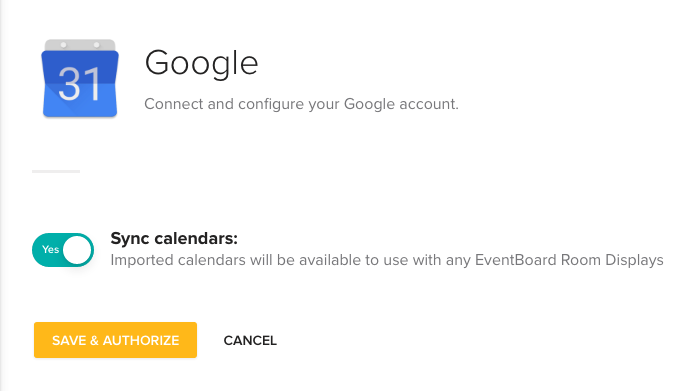 Google for Work Calendars sync option