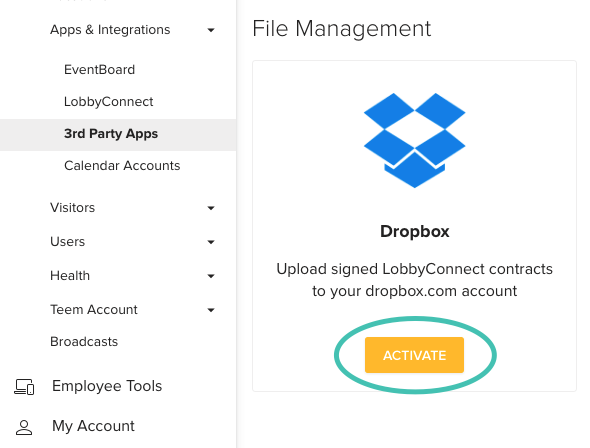 Setting up Drobox Integration with Teem