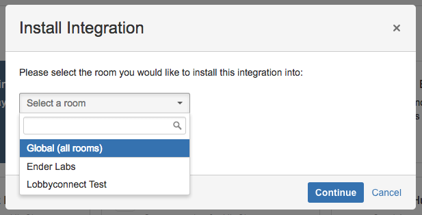 HipChat Install Integration Screen
