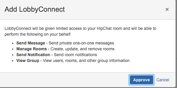 Add LobbyConnect Integration Screen with Hipchat