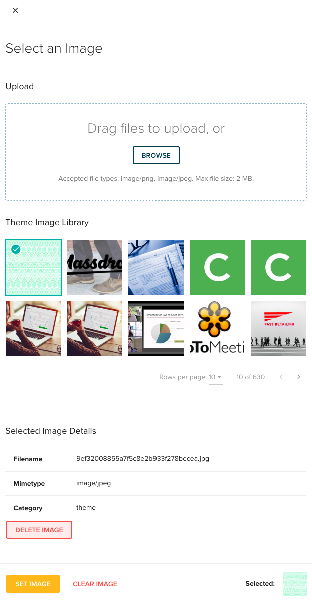 Upload a Theme Image by Teem Conference Room Custom Themes
