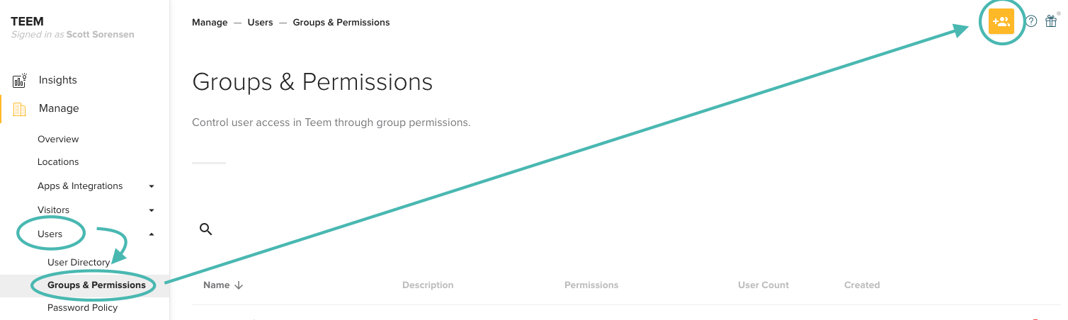 Create User Groups and Permissions Teem