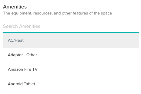 Search Amenities to add to Meeting Rooms/Desk
