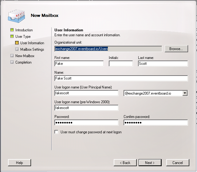 Exchange 2007 New Mailbox User Information