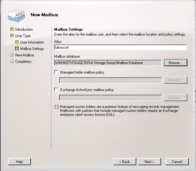 Exchange 2007 New Mailbox Settings