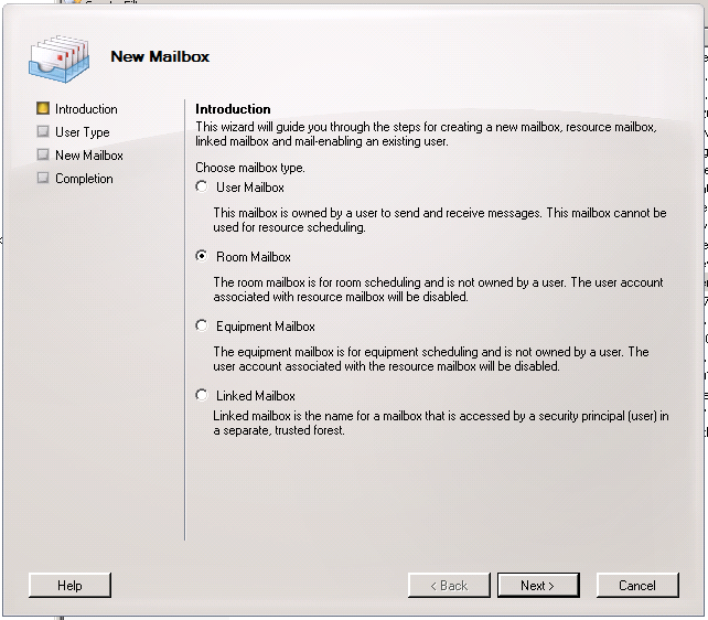 Exchange 2007 New Mailbox Introduction Screen