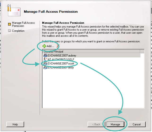 2007 Exchange Full Access Permission