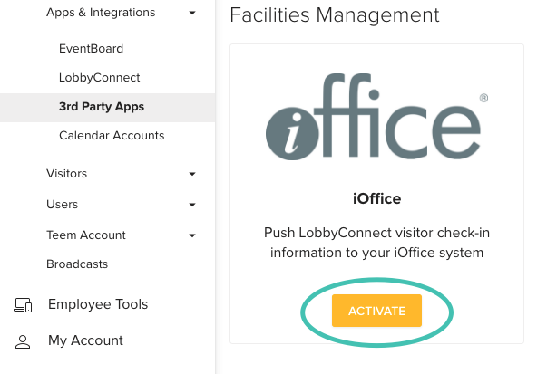 Setting up iOffice Integration with Teem