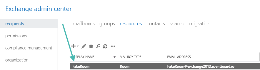 Exchange Admin Center Created Room Resource Mailbox