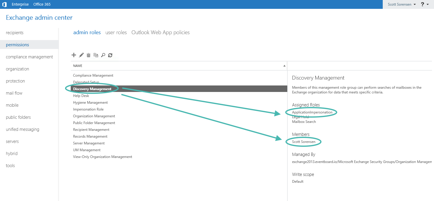 Exchange Admin Center Discovery Management Screen