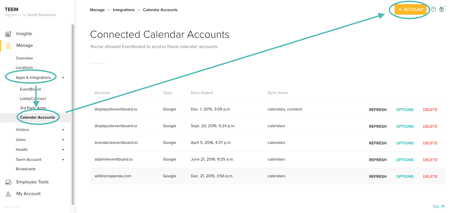 Connecting Exchange or Office 365 to your Teem Account