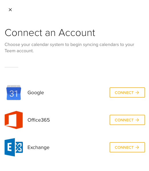 Connect an Account Screen Teem