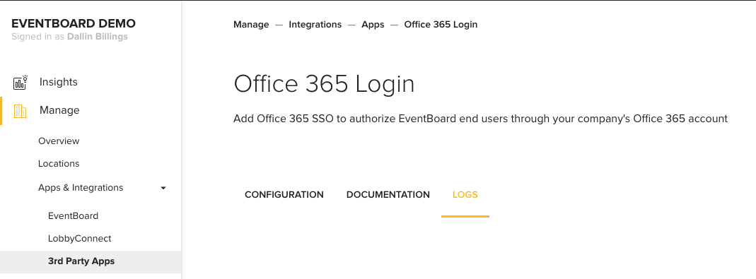 EventBoard Demo Office 365 Login Screen