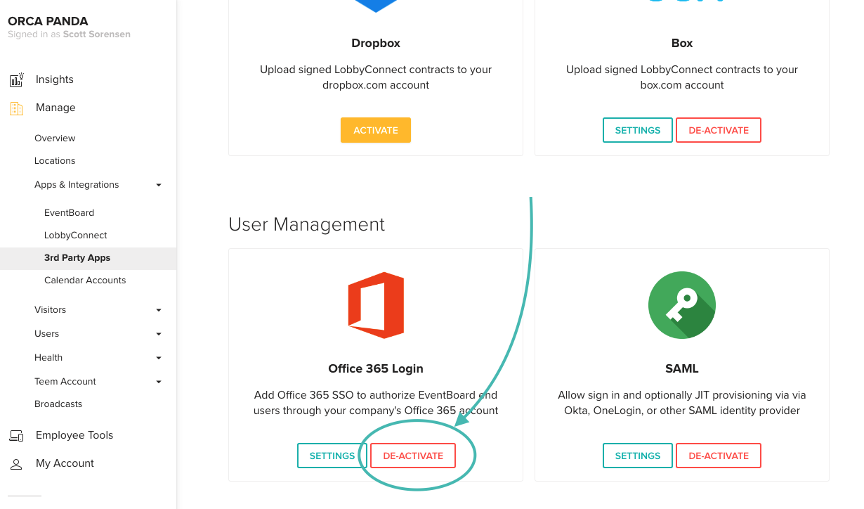 Office 365 De-activate SSO with Teem
