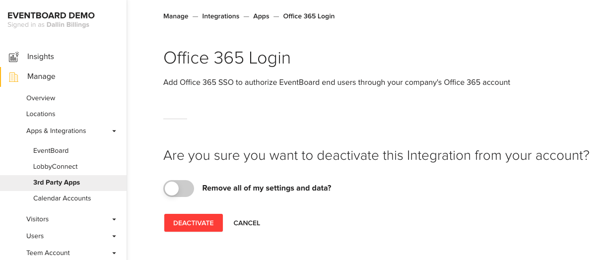 Office 365 Login Screen Deactivation