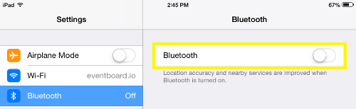 Turn Bluetooth off in Apple IOS