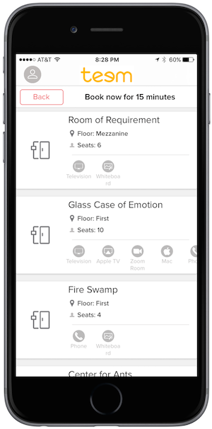 Room List Screen Teem Mobile App iOS
