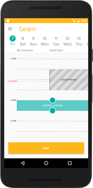 Time Picker Screen Teem App Android