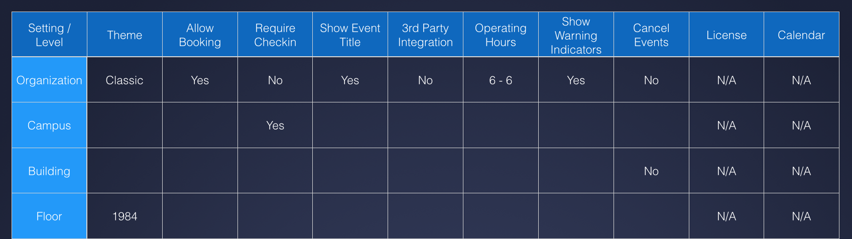 Table of Features for Eventboard by Teem