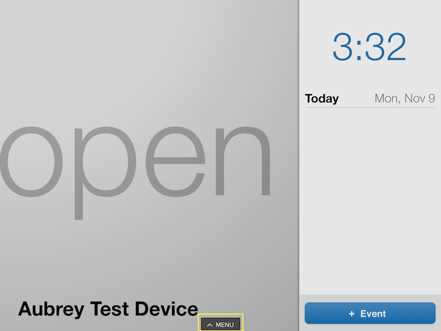 EventBoard Test Device Screen