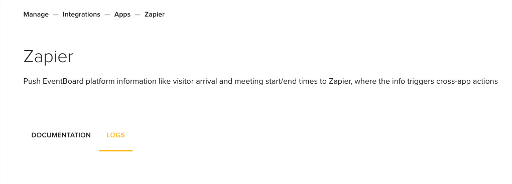 Zapier integration logs screen