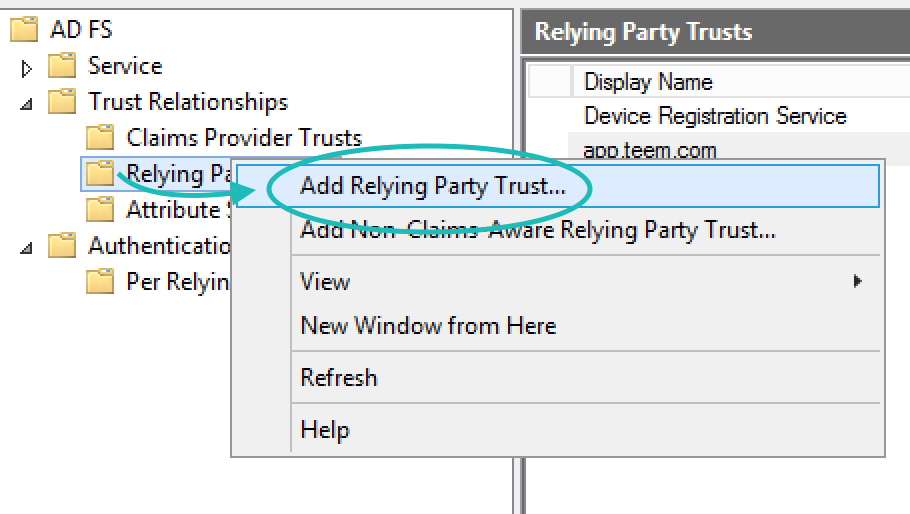 Add Relying Party Trust ADFS Management