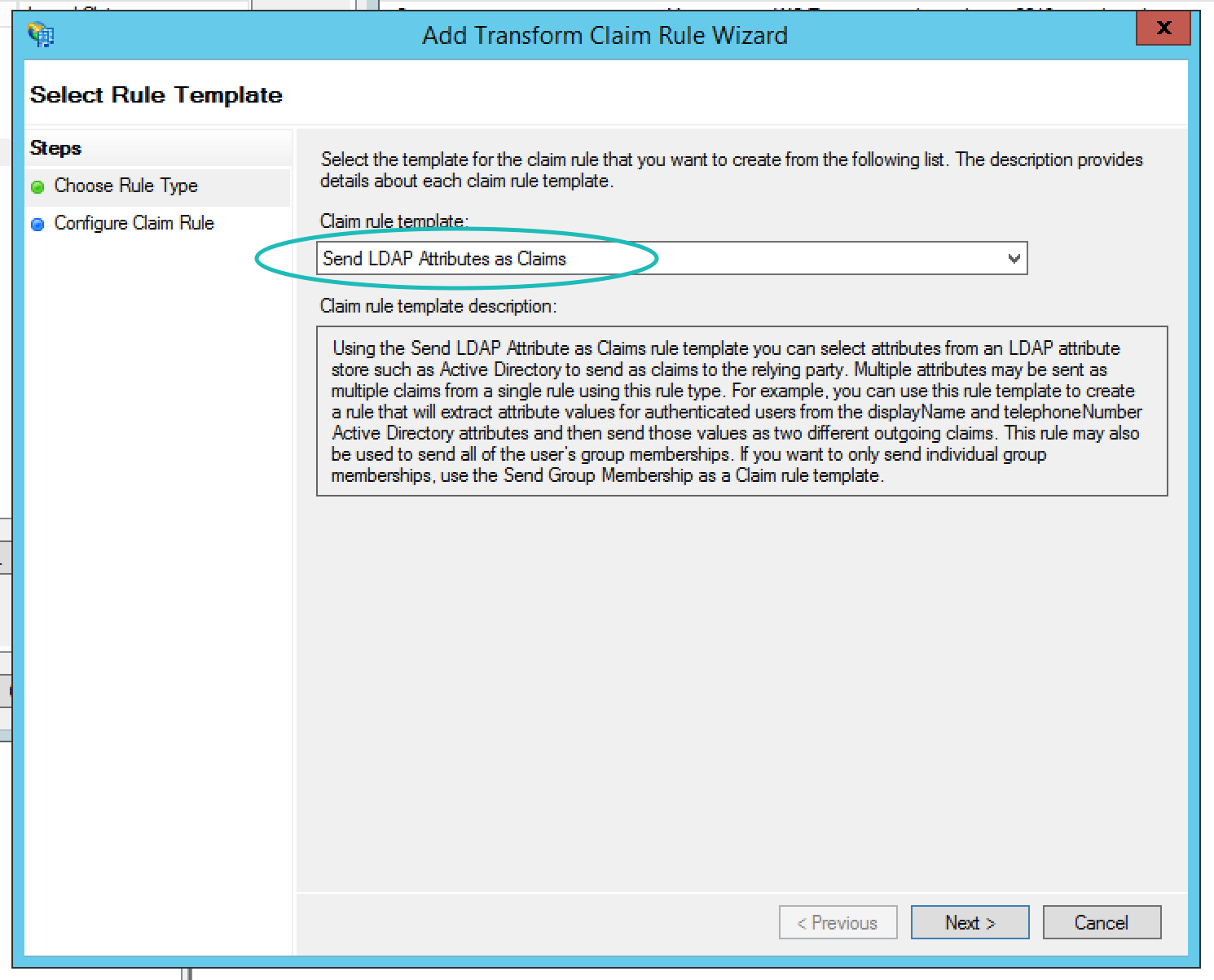 Teem ADFS Add Transform Claim Rule Wizard