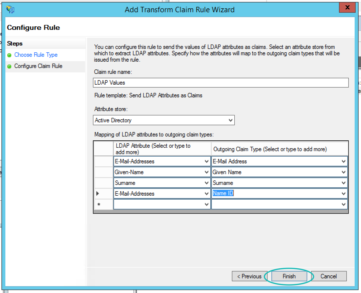 Teem ADFS Add Transform Claim Rule Wizard Second Page