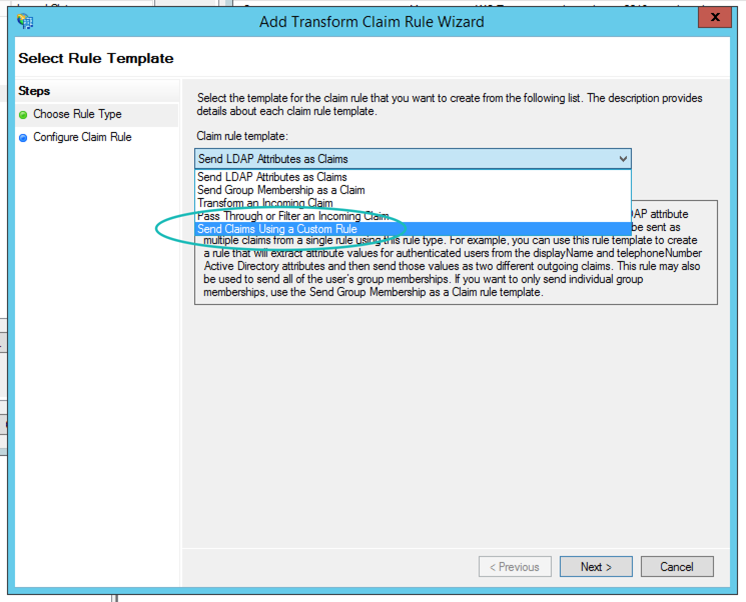 Teem ADFS Add Transform Claim Rule Wizard Custom Rule